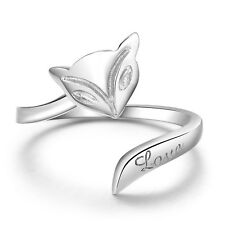 Lovely Women Jewelry Silver Fire Fox Ring Couple Rings Opening Adjustable Size