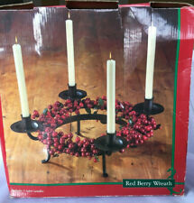 Red Berry Table Wreath Black Metal 4-Taper Candle Holder Advent Holiday