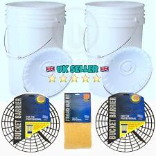2 x 20L Heavy Duty Car Wash Buckets, Bucket Barriers/Grit Guards & Wash Mitt