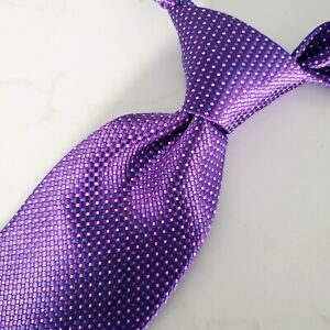 BRIONI Men's Luxury 100% Silk Necktie ITALY Purple Geometric Mini Dots Excellent