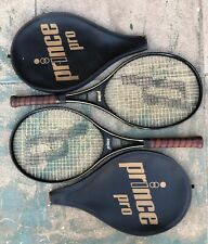 """Lot of 2 Vintage 1983 Prince Pro Tennis Racquet With Cover 4 3/8"""" Grip"""