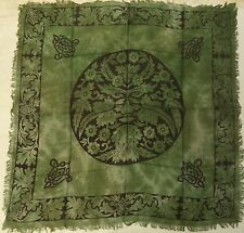 "Green Man Altar / Tarot Cloth 36"" x 36"" Green with Fringe (NEW, Wicca Pagan)"