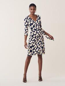Diane Von Furstenberg New Julian Two Wrap Dress - Kimono Leaf Small