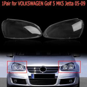 Pair Left Right Front Lens Cover Kit Headlight For VW Volkswagen Golf5 MK5 05-09