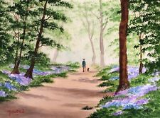 MAL.BURTON ORIGINAL OIL PAINTING. BLUEBELL WOOD NORTHERN ART DIRECT FROM ARTIST