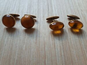GENUINE BALTIC AMBER VINTAGE SOVIET TIME RUSSIAN CUFF LINKS.