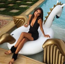 White Pegasus Giant Inflatable Rainbow Unicorn Float Swimming Water Pool Floats