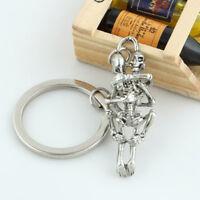 Fashion Creative Alloy Rhinestone Metal Skeleton Key Ring Key Chain Unisex Gift