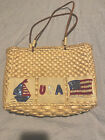 USA Patriotic AMERICA HAND BAG Purse Straw Corn Hust w/ Cotton Lining Beads NICE