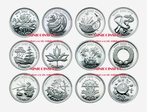 Canada 2000 25-Cent Millennium Quarters 12 Coin Full Set BU
