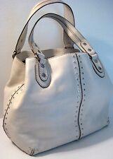 Michael Kors Ivory Leather Studded Tote Shopper Satchel Hobo Shoulder Purse Bag