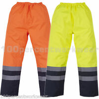 Yoko HVS463 High Visibility Vis Viz Waterproof Work Over Trousers ORANGE YELLOW