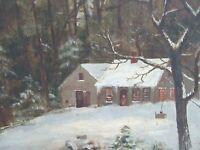 19c Antique Oil Painting Folk Art Country Primitive Landscape New England Cabin