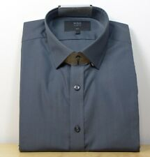 "M&s Baumwollmischung Slim Fit Langarm Shirt ~ Gr. 16"" ~ grau"