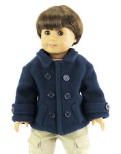 "Navy Pea Coat Jacket fits 18"" American Girl Doll Clothes for Boys and/or Girls"