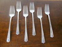 IS APRIL Set of 6 Salad Forks Wm Rogers & Son Vintage Silverplate Flatware  C