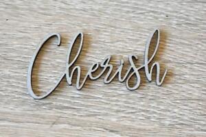 Cherish Word 3x6cm sentiment Phrase Chipboard 2 Crafty Chipboard