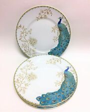 NEW  SET OF 4 222 FIFTH TURQUOISE BLUE PEACOCK,GARDEN,GOLD FLORAL DINNER PLATES