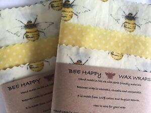 Beeswax Wraps Cotton UK Lincolnshire Beeswax  Kitchen Pack OF 3 Lg Med & Sm