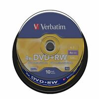 10 VERBATIM DVD+RW DVDRW 4x SPEED 4.7GB REWRITABLE BLANK DVD DISCS SPINDLE