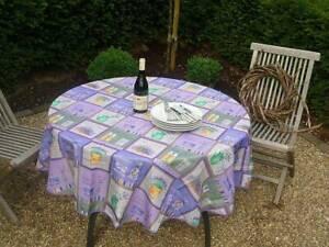 Tischdecke Provence 180 cm rund mit Lavendelmotiven aus Frankreich bügelfrei