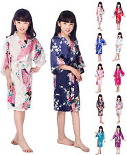 2018 Floral Satin Robe Kimono Dressing Gown Vintage Wedding Party Flower Girl