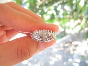 .84 Carat Diamond w/ Baguette Cut White Gold Ring 18k R108 sep