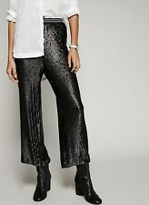 NEW Free People black Sequin Matte & Shiny Elastic Waist Pull On Sporty Pants XS