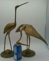 "2 LARGE Solid Brass Crane Heron Stork Figures Mantel Shelf Mid Century Set 17""T"