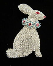 LARGE RHINESTONE EASTER BUNNY BROOCH  ALL STONES PRONG SET  BEAUTIFUL!!