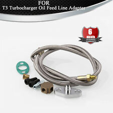 Universal T3 Turbo Turbocharger Oil Feed Line Adapter Kit M18 Bolts NPT Adapter