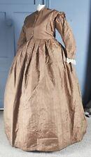 Victorian Antique c. 1860s Silk Crinoline Dress With ' Modern ' Alterations
