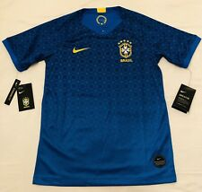 Nike Brazil Soccer Jersey Football 2018 Away Blue Brasil NEW Size Youth Large