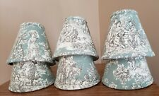 MINI LAMP SHADES for CHANDELIER: SET of 6; NEW and HANDMADE in RUSTIC TOILE