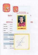 Juan Pizzi España internacional 1994-1998 Original Corte firmada a mano