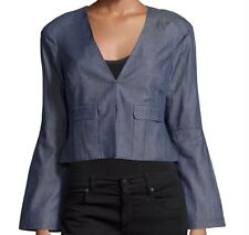 Nanette Nanette Lepore size 4 Jacket Blazer Chambray Patch Pocket Bell Sleeve