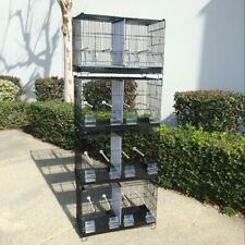 Set of 4 Stackable Breeding Bird Cage for Canary Finch Small Birds Black