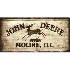 PLAQUE EN METAL EMAILLEE NEUVE 25 X 50 cm : ENSEIGNE JOHN DEERE A MOLINE, ILL.