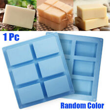 6 Cavity Rectangle Soap Mould Silicone Craft Making Homemade Cake DIY Tool US