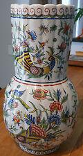 ancien Rouen grand vase décor corne abondance  signé