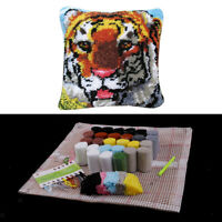 Popular DIY Latch Hook Rug Kits Tiger Pillow Case Making for Kids Beginners