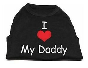 Black  Dog Tank Shirt Top I Love My Daddy Tee T-Shirt Pet Shirt Heart