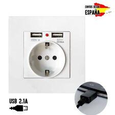 ENCHUFE DE PARED MAS 2 PUERTOS USB 5V - 2.1A 250V ENCHUFE CON TOMA DE TIERRA