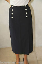 luxueuse skirt jupe taille haute en laine marine INFINITIF taille 36-38