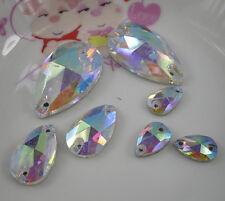 water drop clear Ab glass crystal rhinestones Faceted silver flat back sew shoes