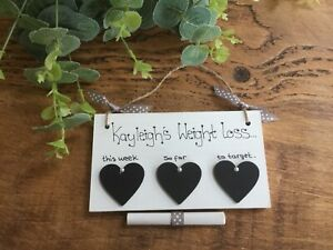 Personalised Weight Loss Journey Plaque Gift Slimming World Chalkboard Sign Diet