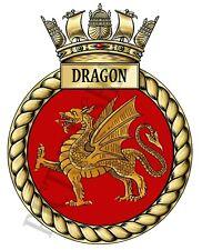 HMS Dragon Placa/Crest en té/Café Coaster. armada Real 9 cm X 9 cm.