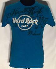 Hard Rock Cafe Orlando Logo Size Medium M Blue Cotton-Blend Short Sleeve T-shirt