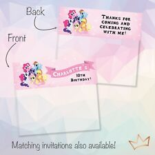 Personalised My Little Pony Birthday Party Loot Bag Toppers / Lolly Bags Topper