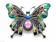 Butterfly Brooch Pin Silver Plated Pin Enamel Crystal Women